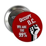 Occupy D.C. activist button with fist raised