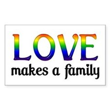 Love Makes A Family Rectangle Decal