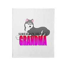 Gray Siberian Husky Grandma Throw Blanket