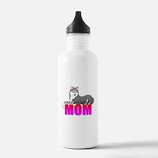Gray Siberian Husky Mom Water Bottle