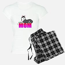 Black Siberian Husky Mom Pajamas