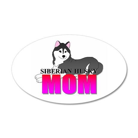 Siberian Husky 38.5 x 24.5 Oval Wall Peel