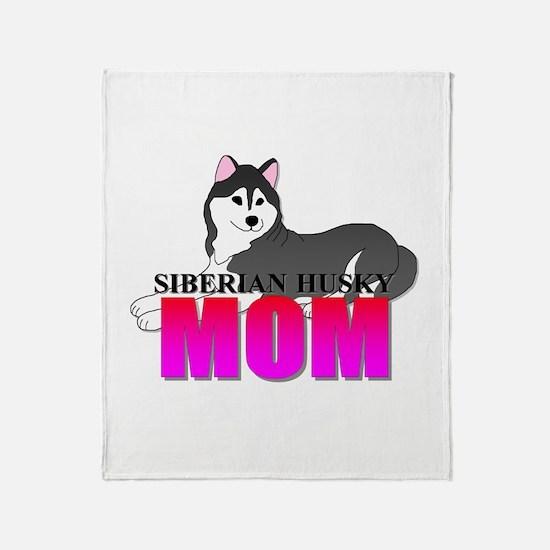 Black Siberian Husky Mom Throw Blanket