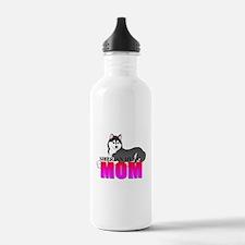 Black Siberian Husky Mom Water Bottle