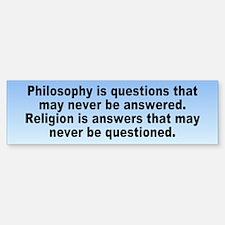 philosophy religion... Bumper Bumper Bumper Sticker