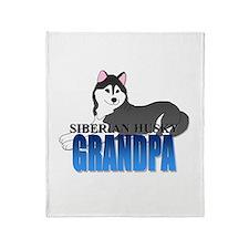 Black Siberian Husky Grandpa Throw Blanket