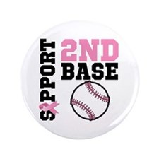 "Breast Cancer 2nd Base 3.5"" Button (100 pack)"