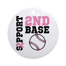Breast Cancer 2nd Base Ornament (Round)