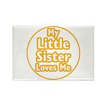Little Sister Loves Me Rectangle Magnet (100 pack)