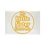 Little Sister Loves Me Rectangle Magnet (10 pack)