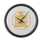 Little Sister Loves Me Large Wall Clock