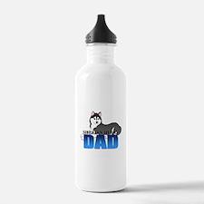 Black Siberian Husky Dad Water Bottle