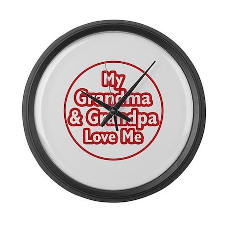 Grandma and Grandpa Love Me Large Wall Clock