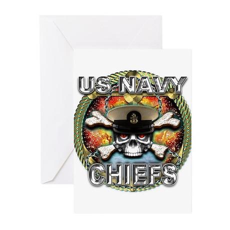US Navy Chiefs Skull Greeting Cards (Pk of 20)