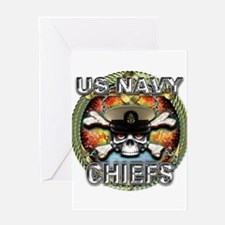 US Navy Chiefs Skull Greeting Card