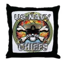 US Navy Chiefs Skull Throw Pillow