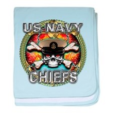 US Navy Chiefs Skull baby blanket
