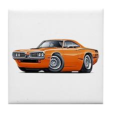 Super Bee Orange Hood Scoop Car Tile Coaster
