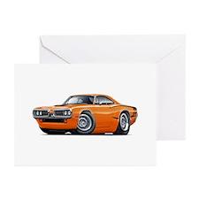 Super Bee Orange Hood Scoop Car Greeting Cards (Pk