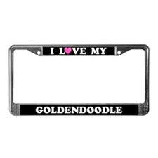 I Love My Goldendoodle License Plate Frame