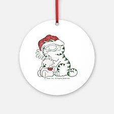 Santa Garfield & Pooky Ceramic Ornament (Round