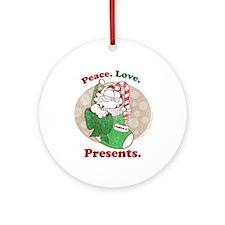 Peace. Love. Presents. Ceramic Ornament (Round)