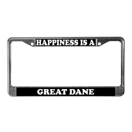 Happiness Is A Great Dane License Plate Frame