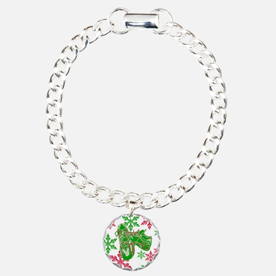 Running Shoes & Snowflakes Charm Bracelet, One Cha
