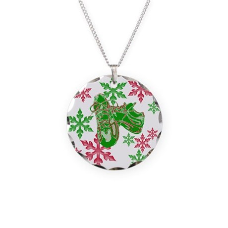 Running Shoes & Snowflakes Necklace Circle Charm
