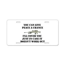 Peace or Protection Aluminum License Plate
