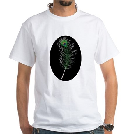 Peacock Feather White T-Shirt