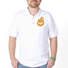 Grunge Pumpkin in Hat Golf Shirt
