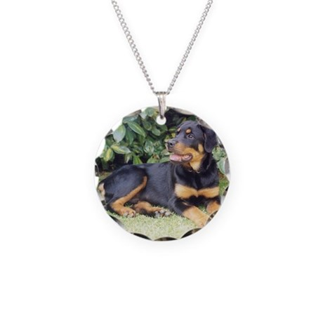 Rottweiler Necklace Circle Charm