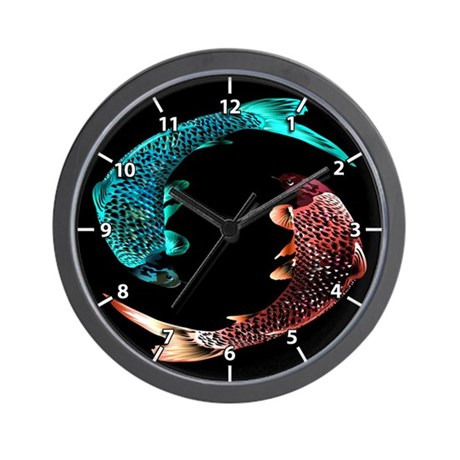 Blue and Gold Fish Wall Clock