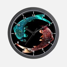 Blue and Gold Fish Wall Clock