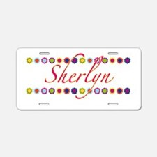 Sherlyn with Flowers Aluminum License Plate