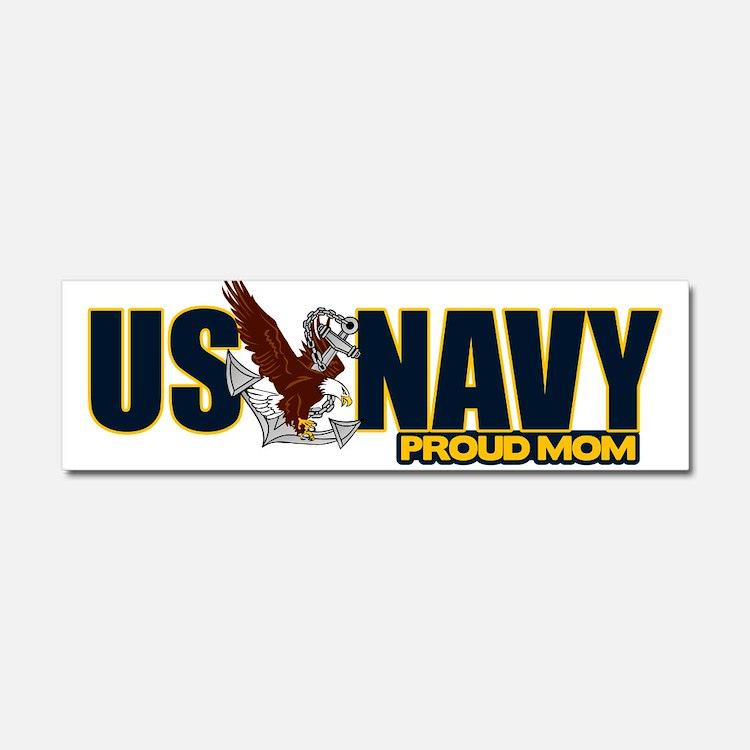 Navy Mom Car Magnet 10 x 3