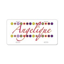 Angelique with Flowers Aluminum License Plate