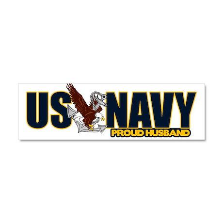 Navy Husband Car Magnet 10 x 3