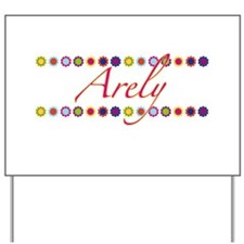 Arely with Flowers Yard Sign