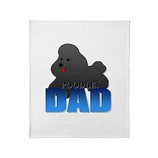 Black Poodle Dad Throw Blanket