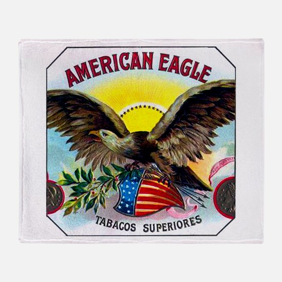 American Eagle Cigar Label Throw Blanket