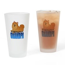 Orange Pomeranian Grandpa Drinking Glass