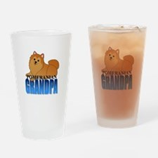 Orange Pomeranian Grandpa Drinking Glass