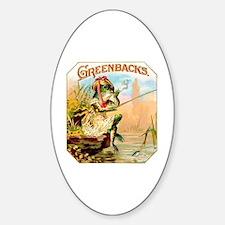 Greenbacks Fishing Frog Cigar Label Sticker (Oval)