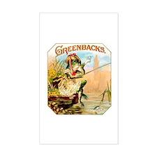 Greenbacks Fishing Frog Cigar Label Bumper Stickers