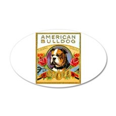 American Bulldog Cigar Label 22x14 Oval Wall Peel