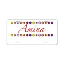 Amina with Flowers Aluminum License Plate