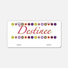 Destinee with Flowers Aluminum License Plate