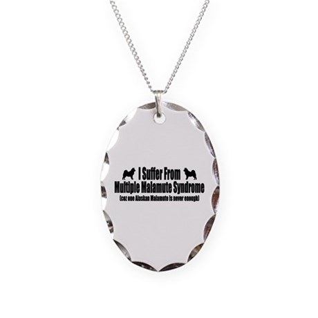 Alaskan Malamute Necklace Oval Charm